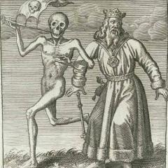 Old image of Shakespeare's King Lear meets Death